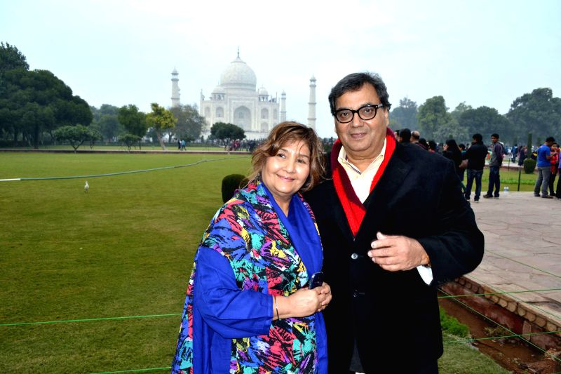 Filmmaker Subhash Ghai during his visit to the Taj Mahal in Agra, on Jan 1, 2015.