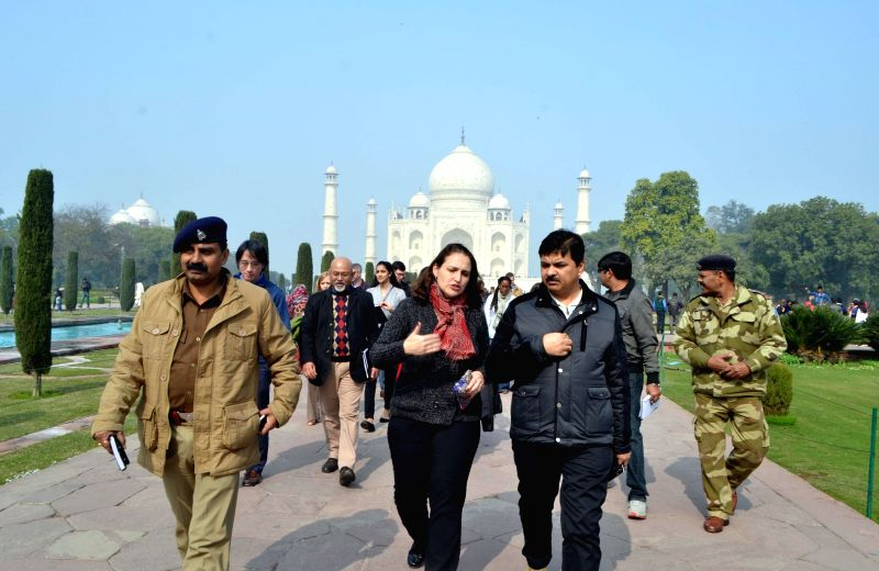 Indian and US security personnel arrive at the Taj Mahal to review security measures ahead of US President Barack Obama's expected visit on 27th January 2015, in Agra, on Jan 19, 2015.