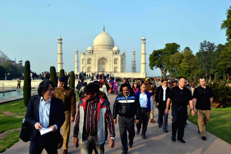 Officials evaluate security measures at the Taj Mahal ahead of US President Barack Obama's visit, in Agra, on Dec 16, 2014.