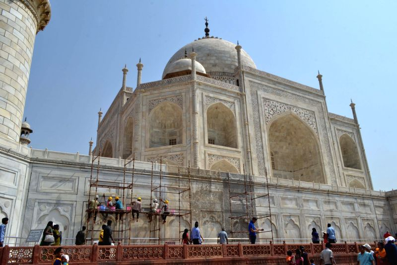 Renovation work underway at the Taj Mahal under the supervision of Archaeological Survey of India in Agra on April 29, 2015.