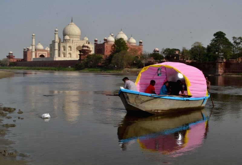 Shooting for upcoming television serial `Petha Wali Gali` underway on the Yamuna river in Agra on April 3, 2015.