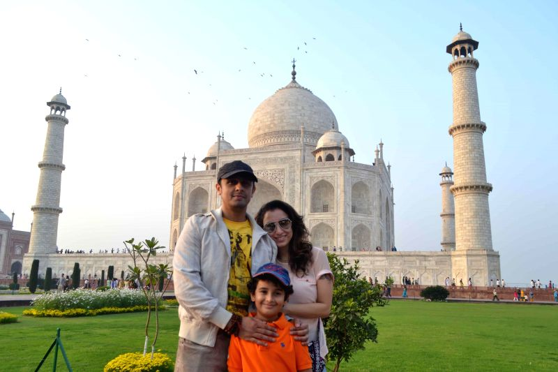 Singer Sonu Nigam with his wife Madhurima Nigam and son Nevaan Nigam visits Taj Mahal in Agra, on Feb 21, 2015.