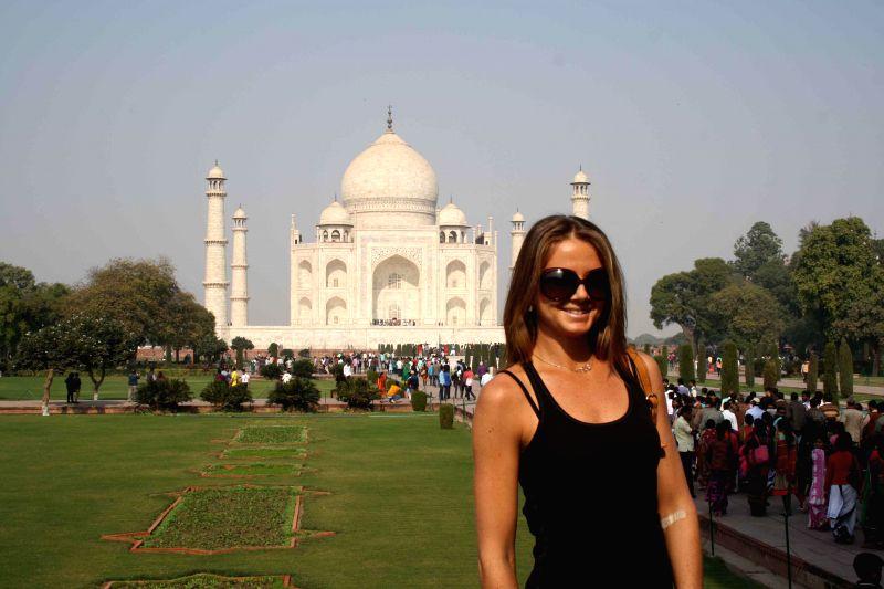 Slovak tennis player Daniela Hantuchov during her visit to the Taj Mahal in Agra, on Dec 9, 2014.