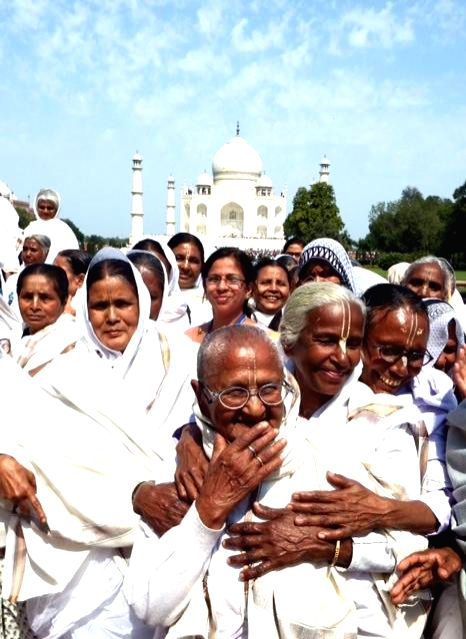 The widows of Vrindavan during their visit to the Taj Mahal in Agra on March 8, 2015.