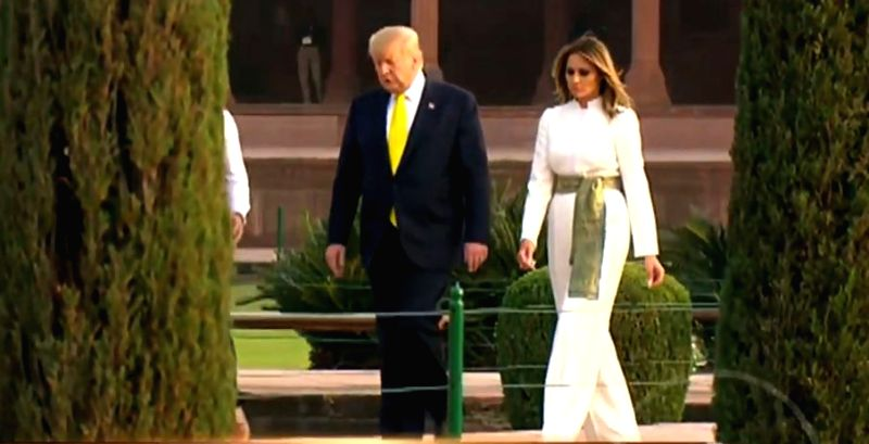 Agra: US President Donald Trump and First Lady Melania Trump during their visit to the Taj Mahal in Agra on Feb 24, 2020. (Photo: IANS)