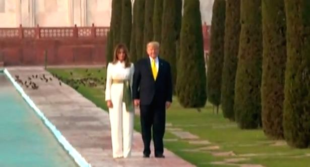 Agra: US President Donald Trump and First Lady Melania Trump pose in front of the Taj Mahal in Agra on Feb 24, 2020. (Photo: IANS)