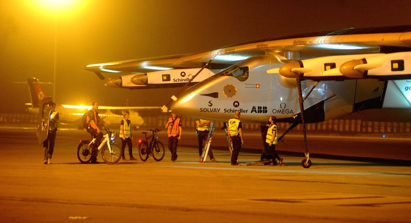 A view of Solar Impulse 2  at  Sardar Vallabhbhai Patel International Airport in Ahmedabad, on March 11, 2015.