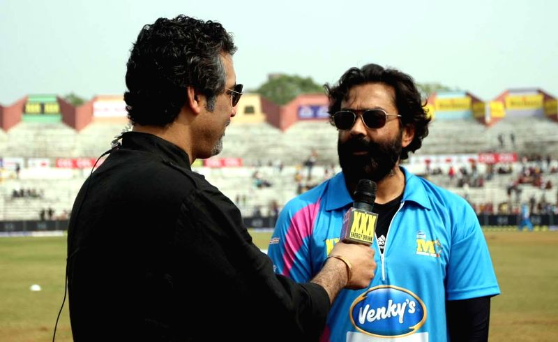 Actor Bobby Deol during a CCL match between Mumbai Heroes and Chennai Rhinos at Sardar Patel Stadium in Ahmedabad, on Jan 25, 2015. - Bobby Deol and Sardar Patel Stadium