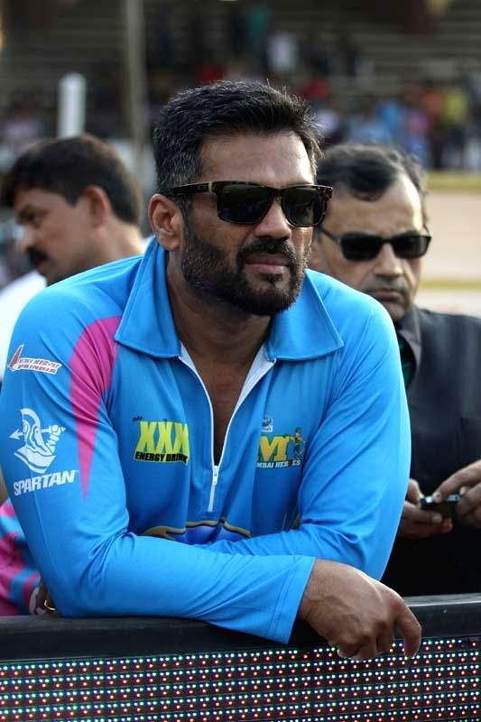 Actor Sunil Shetty during a CCL match at Sardar Patel Stadium in Ahmedabad, on Jan 25, 2015. - Sunil Shetty and Sardar Patel Stadium