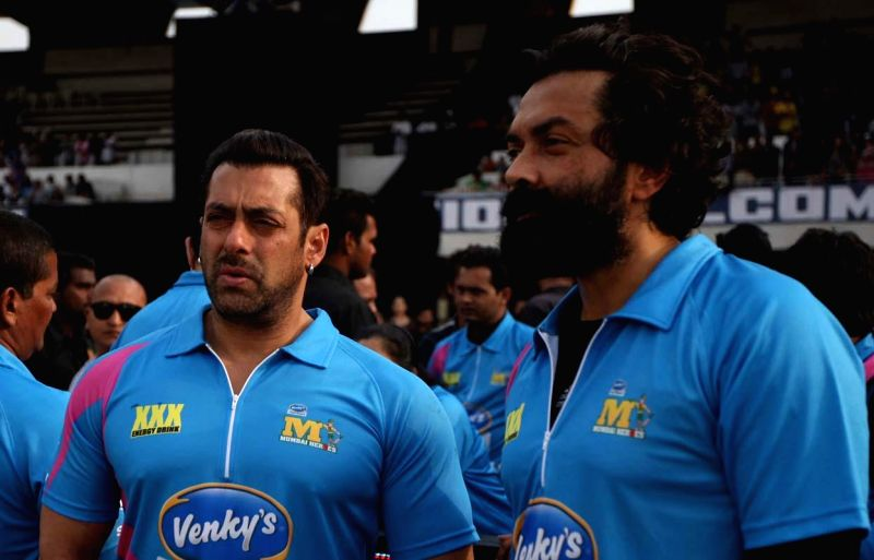 Actors Bobby Deol and Salman Khan during a CCL match between Mumbai Heroes and Chennai Rhinos at Sardar Patel Stadium in Ahmedabad, on Jan 25, 2015. - Bobby Deol, Salman Khan and Sardar Patel Stadium