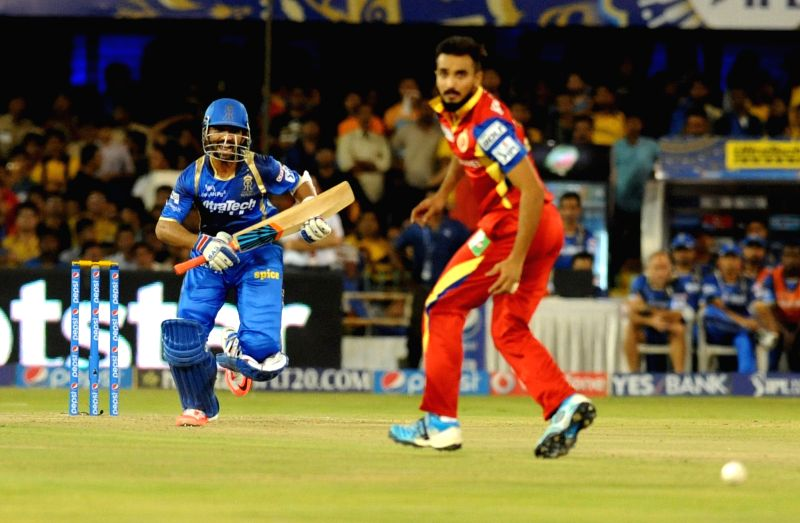 during an IPL-2015 match between Royal Challengers Bangalore and Rajasthan Royals at Sardar Patel Stadium, Motera, in Ahmedabad, on April 19, 2015. Also seen Rajasthan Royals batsman ... - Ajinkya Rahane and Sardar Patel Stadium