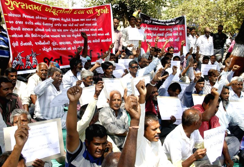Farmer stage a demonstration to press for their various demands in Ahmedabad, on March 16, 2015.
