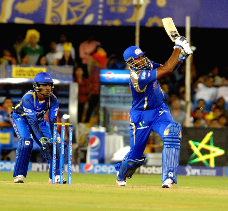 Mumbai Indians batsman Kieron Pollard in action during an IPL-2015 match between Rajasthan Royals and Mumbai Indians at Sardar Patel Stadium, in Ahmedabad, on April 14, 2015. - Kieron Pollard and Sardar Patel Stadium