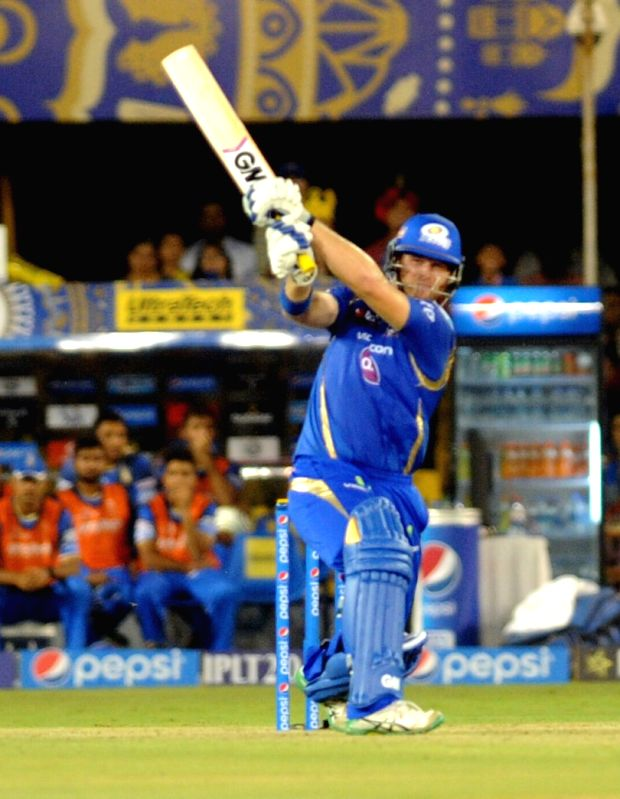 Mumbai Indians Corey Anderson in action during an IPL-2015 match between Rajasthan Royals and Mumbai Indians at Sardar Patel Stadium, in Ahmedabad, on April 14, 2015. - Sardar Patel Stadium