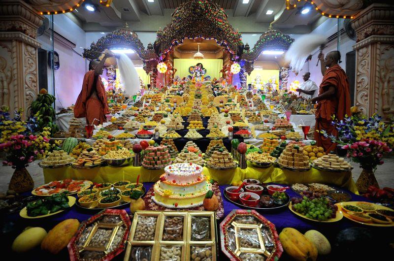 Offerings made at  Swaminarayan Temple on Diwali in Maninagar of Ahmedabad.