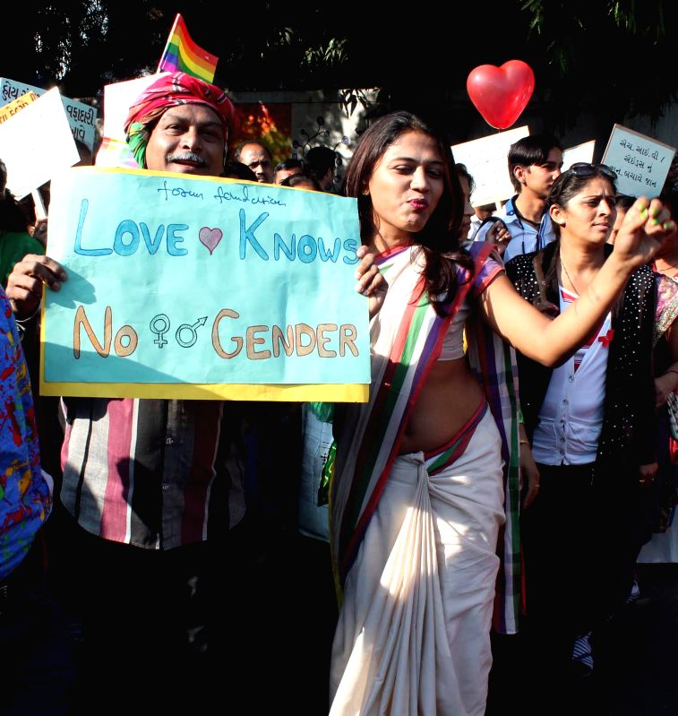 People participate in a gay parade to press for the rights of LGBT community in Ahmedabad, on Dec 1, 2014.