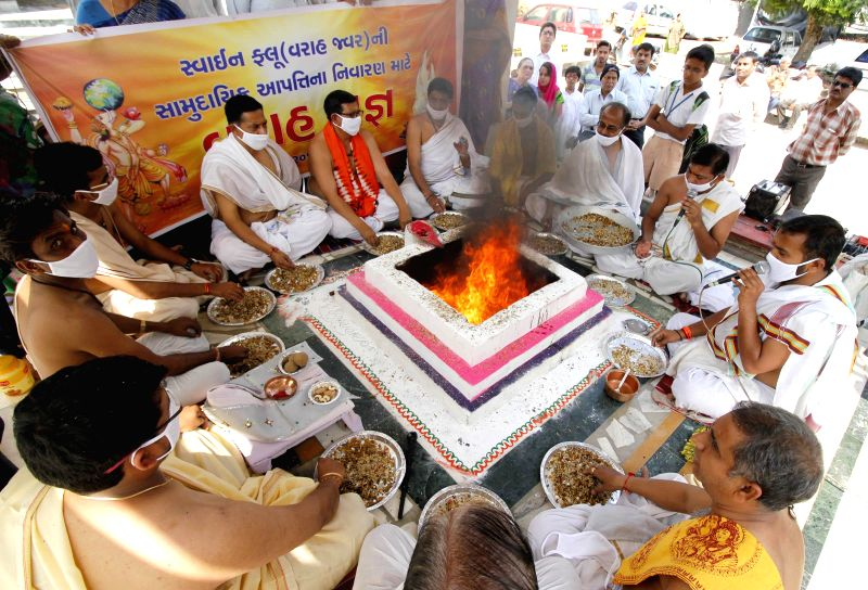 People perform `yagna` to ward off Swine Flu virus from Gujarat in Ahmedabad, on March 3, 2015.