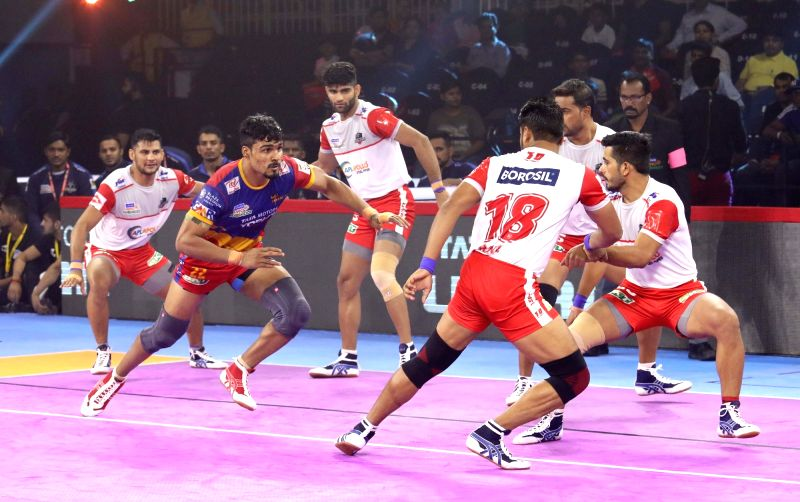 Ahmedabad: Players in action during a Pro Kabaddi Season 7 match between UP Yoddha Vs Haryana Steelers at EKA Arena in Ahmedabad on Aug 14, 2019.