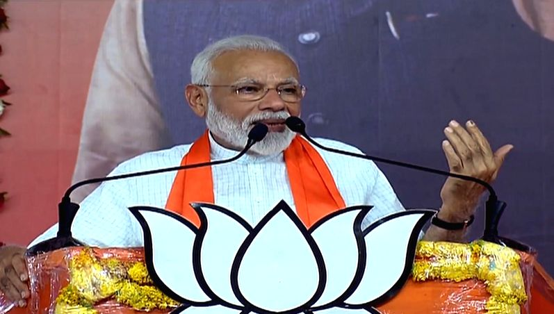 Ahmedabad: Prime Minister Narendra Modi addresses a public meeting in Ahmedabad on May 26, 2019.
