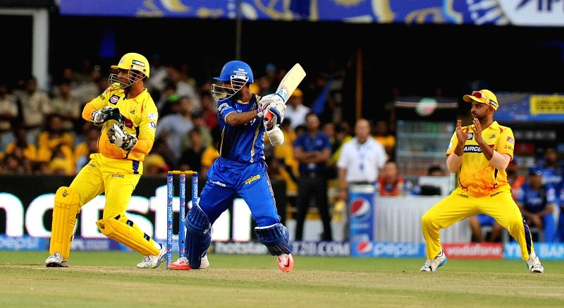 Rajasthan Royals batsman Ajinkya Rahane in action during an IPL-2015 match between Chennai Super Kings and Rajasthan Royals at Sardar Patel Stadium, Motera, in Ahmedabad, on April 19, ... - Ajinkya Rahane and Sardar Patel Stadium