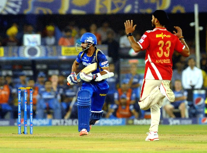 Rajasthan Royals batsman Ajinkya Rahane in action during an IPL-2015 match between Rajasthan Royals and Kings XI Punjab at Sardar Patel Stadium, in Ahmedabad, on April 21, 2015. - Ajinkya Rahane and Sardar Patel Stadium