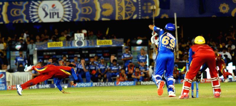 Rajasthan Royals batsman Karun Nair during an IPL-2015 match between Royal Challengers Bangalore and Rajasthan Royals at Sardar Patel Stadium, Motera, in Ahmedabad, on April 24, 2015. - Karun Nair and Sardar Patel Stadium