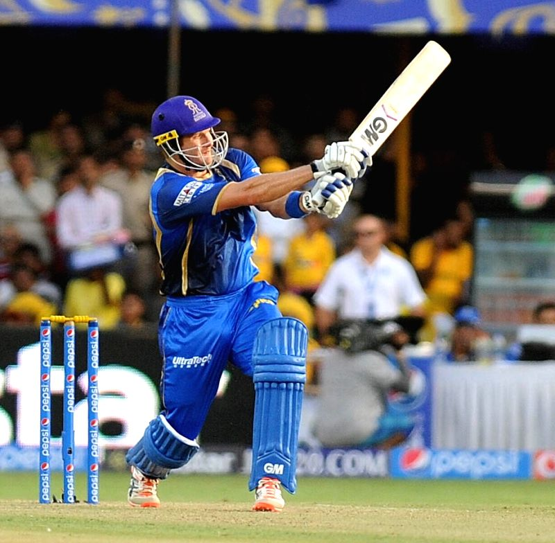 Rajasthan Royals batsman Shane Watson in action during an IPL-2015 match between Chennai Super Kings and Rajasthan Royals at Sardar Patel Stadium, Motera, in Ahmedabad, on April 19, 2015. - Shane Watson and Sardar Patel Stadium