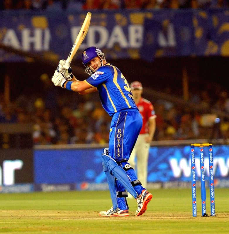 Rajasthan Royals batsman Shane Watson in action during an IPL-2015 match between Rajasthan Royals and Kings XI Punjab at Sardar Patel Stadium, in Ahmedabad, on April 21, 2015. - Shane Watson and Sardar Patel Stadium