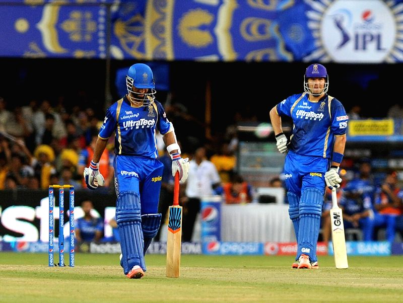 Rajasthan Royals batsmen Ajinkya Rahane and Shane Watson during an IPL-2015 match between Chennai Super Kings and Rajasthan Royals at Sardar Patel Stadium, Motera, in Ahmedabad, on April ... - Sardar Patel Stadium