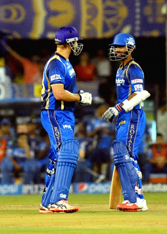 Rajasthan Royals batsmen Shane Watson and Ajinkya Rahane in action during an IPL-2015 match between Rajasthan Royals and Kings XI Punjab at Sardar Patel Stadium, in Ahmedabad, on April 21, ... - Sardar Patel Stadium