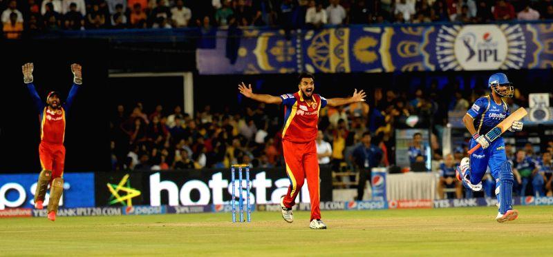Royal Challengers Bangalore bowler Harshal Patel during an IPL-2015 match between Royal Challengers Bangalore and Rajasthan Royals at Sardar Patel Stadium, Motera, in Ahmedabad, on April ... - Harshal Patel and Sardar Patel Stadium