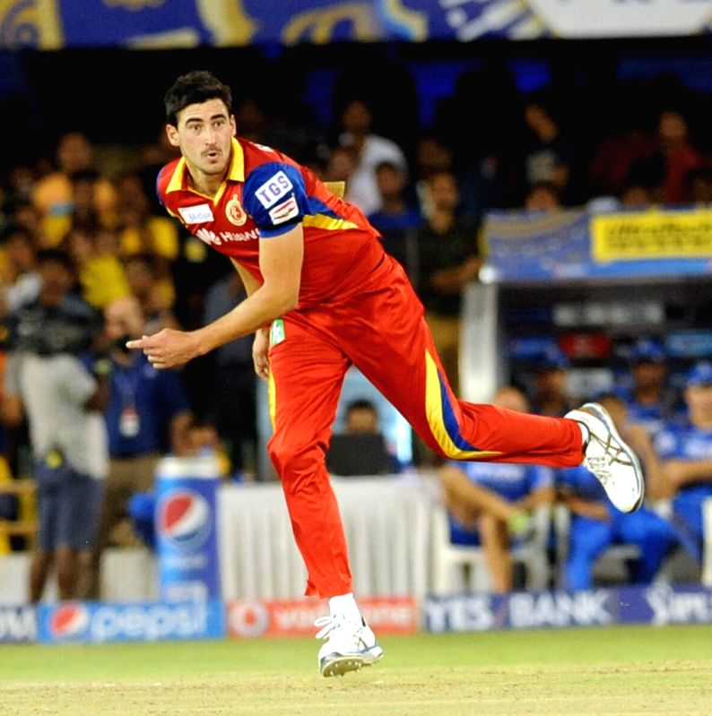 Royal Challengers Bangalore Mitchell Starc in action during an IPL-2015 match between Royal Challengers Bangalore and Rajasthan Royals at Sardar Patel Stadium, Motera, in Ahmedabad, on ... - Ajinkya Rahane and Sardar Patel Stadium