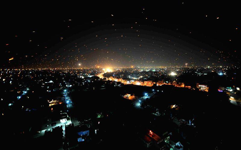 Sky-lamps light-up Ahmedabad skies on Makar Sankranti on Jan 15, 2015.