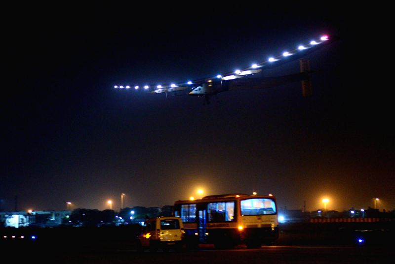 Solar Impulse 2  lands at  Sardar Vallabhbhai Patel International Airport in Ahmedabad, on March 10, 2015.