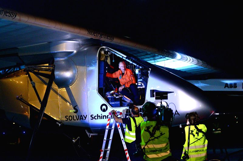 The pilot of Solar Impulse 2,  Bertrand Piccard after landing at  Sardar Vallabhbhai Patel International Airport in Ahmedabad, on March 10, 2015.