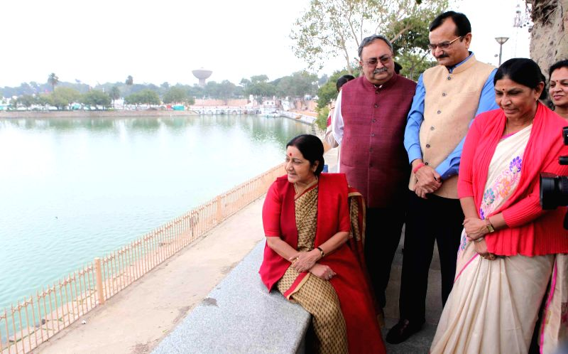 Union External Affairs Minister Sushma Swaraj arrives at Kankaria Lake to review preparations for Pravasi Bharatiya Divas in Ahmedabad on Jan 1, 2015.