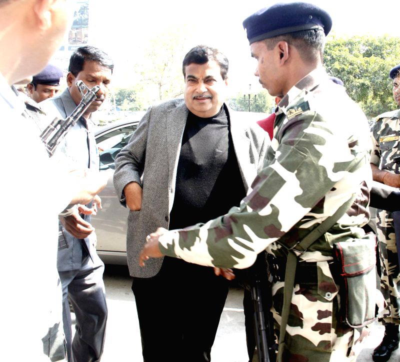 Union Minister for Road Transport and Highways, and Shipping Nitin Gadkari arrives at the Sardar Vallabhbhai Patel Airport to attend BJP chief Amit Shah's son's wedding in Ahmedabad, on ...