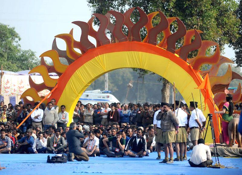 Volunteers of  Rashtriya Swayamsevak Sangh (RSS), arrive for a three-day camp in Ahmedabad.