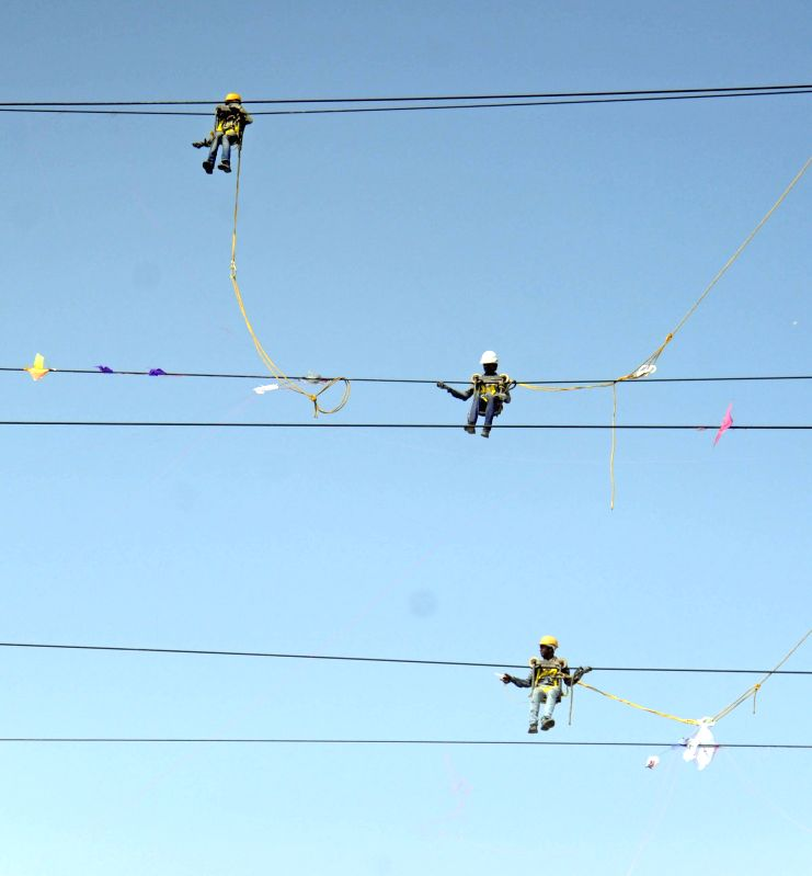 Workers of remove kites stuck in high-tension wires after kite festival in Ahmedabad on Jan 16, 2015.