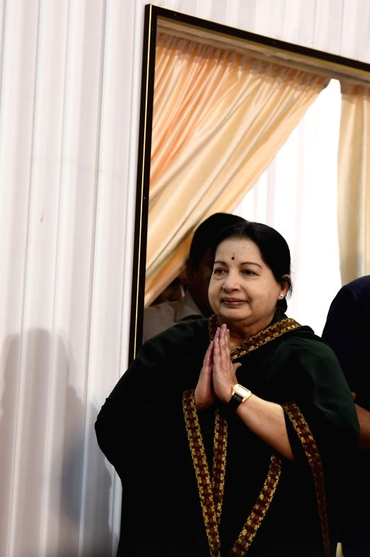 AIADMK general secretary Jayalalithaa during her swearing in ceremony as Tamil Nadu chief minister at Madras University in Chennai, on May 23, 2016.