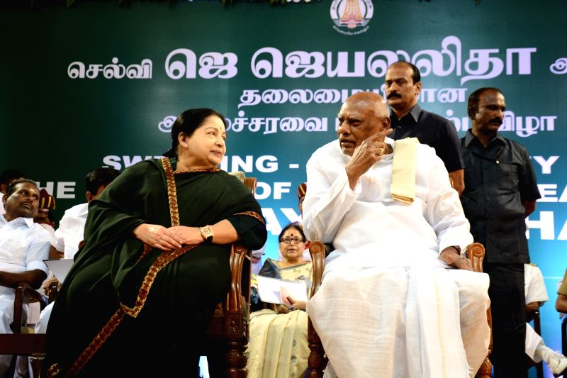 AIADMK general secretary Jayalalithaa with Governor K Rosaiah during her swearing in ceremony as Tamil Nadu chief minister at Madras University in Chennai, on May 23, 2016.
