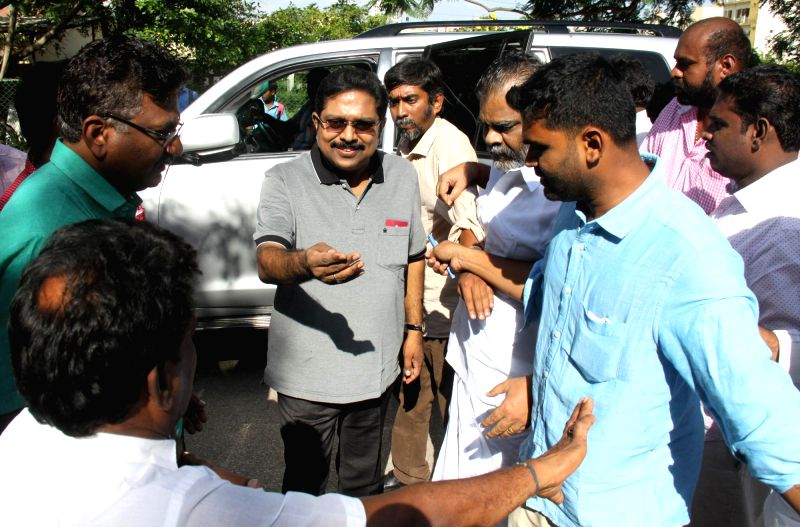 AIADMK leader and party General Secretary V.K. Sasikala's nephew T.T.V. Dinakaran comes out after meeting Sasikala at a Bengaluru jail on June 5, 2017.