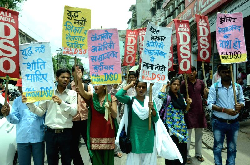 AIDSO activists participate in a rally on the anniversary of Hiroshima and Nagasaki atomic bombings in Patna on Aug. 6, 2016.