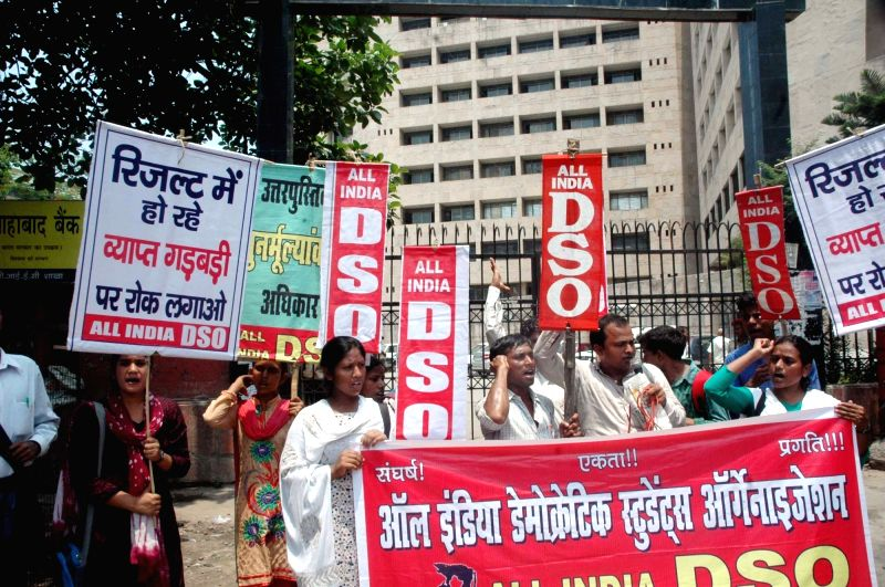 AIDSO activists stage a demonstration to press for their demands in Patna, on June 10, 2017.