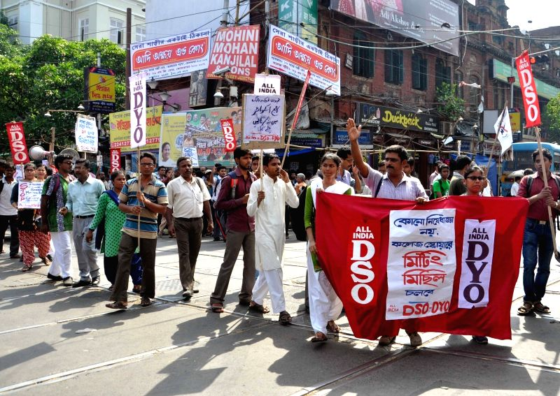 AIDSO activists stage a protest against West Bengal State government in Kolkata, on June 2, 2017.