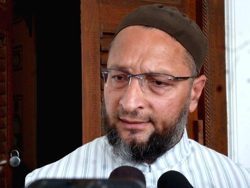 AIMIM leader Asaduddin Owaisi  talks to press in Hyderabad on May 23, 2017.