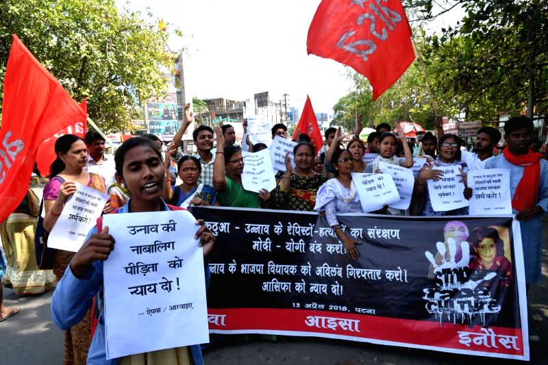 AIPWA and AISA activists stage a demonstration to protest against incidents of rape in Unnao (Uttar Pradesh) and Kathua (Jammu and Kashmir) in Patna on April 13, 2018.