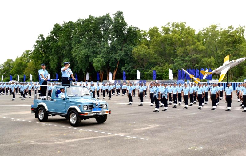 Air Commodore CK Kumar reviews passing out parade of trainees of Joint Basic Phase Training Intake and Logistics Assistant at Air Force Station in Bangalore on July 4, 2014.