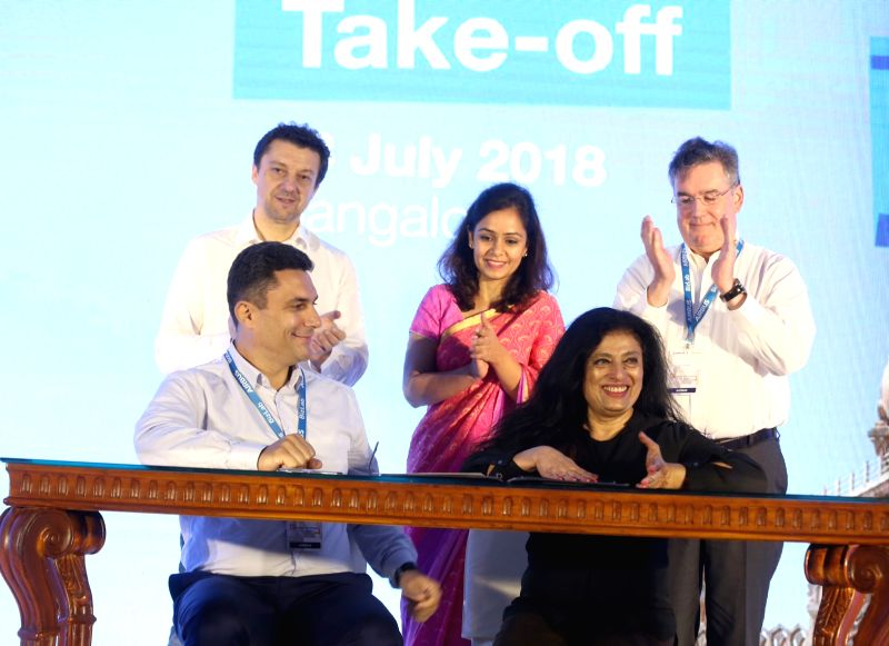 Airbus BizLab Head Bruno Gutierres and Airbus Group India Pierre Bausset during Airbus BizLab's start-up acceleration programme 'TAKE OFF 2018' in Bengaluru on July 13, 2018.