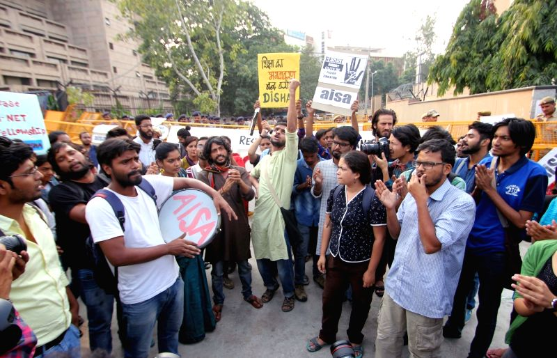 AISA activists stage a demonstration against UGC in New Delhi, on Nov 2, 2015.